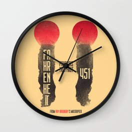 Fahrenheit 451, François Truffaut, french movie, british film, Ray Bradbury,  dystopian novel, book Wall Clock
