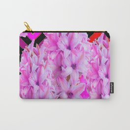 WESTERN BLACK-RED  PURPLISH-PINK ROSES & HYACINTHS Carry-All Pouch