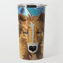 The Inquisitive Collie of the Psychedelic Dog Parade Travel Mug