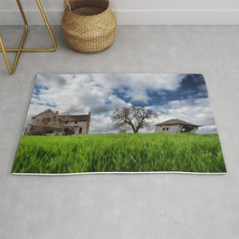 Old House In Field Rug