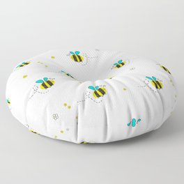 Seamless kids pattern with bee and cute flowers Floor Pillow