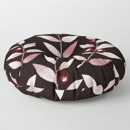 Silvery Pink Leaves And Berries Watercolour Pattern Floor Pillow