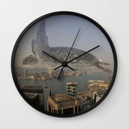 Giant male turtle flying over Hong Kong Wall Clock