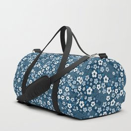 Flowers in Blue Duffle Bag