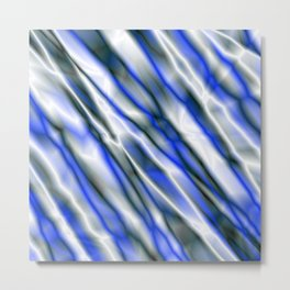 A bright cluster of blue bodies on a light background. Metal Print