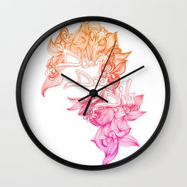 down dog diva pink & orange Wall Clock