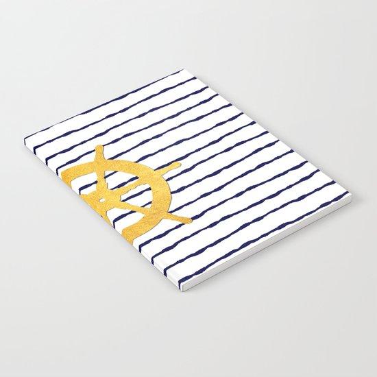 Marine pattern- blue white striped with golden wheel Notebook