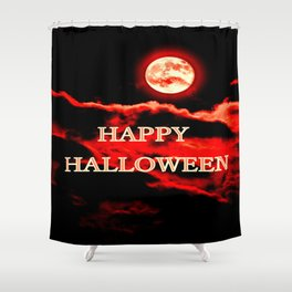Happy Halloween Red Moon Shower Curtain