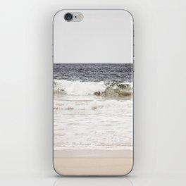 Neutral Ocean Landscape Photography, Grey Seascape Art, Gray Sea Beach Photo, Coastal Print iPhone Skin