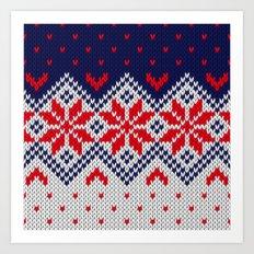 Winter knitted pattern 11 Art Print