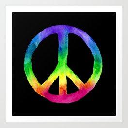 Rainbow Watercolor Peace Sign - Black Background Art Print