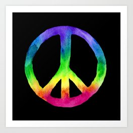 Rainbow Watercolor Peace Sign - Black Background Art Print