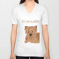 yorkie V-neck T-shirts featuring Yorkshire Terrier Dog Yorkie by ialbert