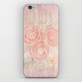 Cute card with flower bouquet on wood background iPhone Skin