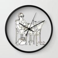 sci fi Wall Clocks featuring Sci Fi Afternoon by Madmi