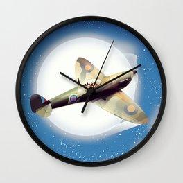 Spitfire at night Wall Clock