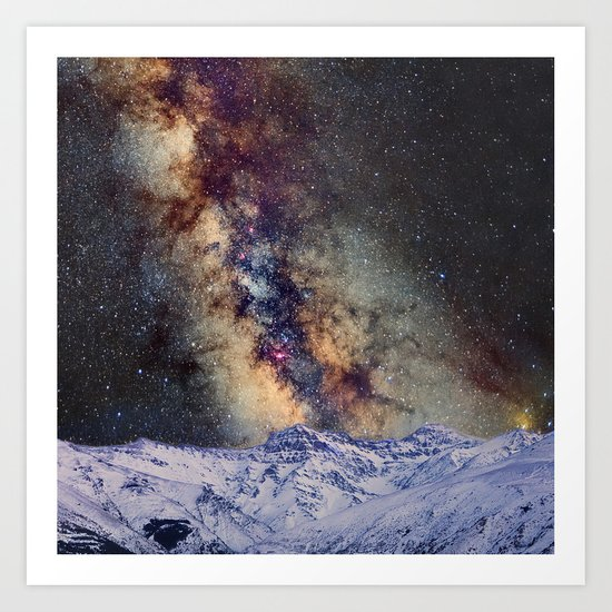 The star Antares, Scorpius and Sagitariuss over the hight mountains. The milky way. Art Print