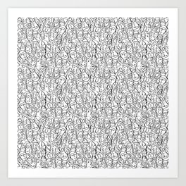 Elios Shirt Faces with Valentine Hearts in Black Outlines on White Art Print