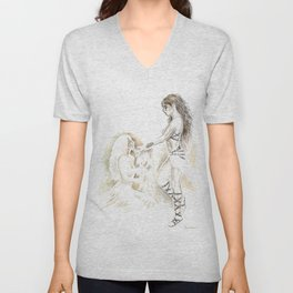 warrior woman and princess coffee painting Unisex V-Neck