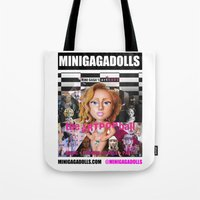 artrave Tote Bags featuring artRAVE minigadolls by Sergiomonster