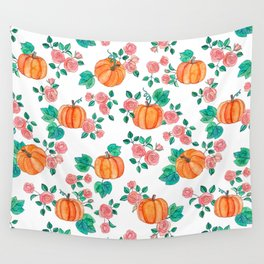 Pumpkins and Roses Wall Tapestry
