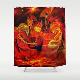 Two fiery rooster Shower Curtain