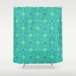Blue starfish on green sand Shower Curtain