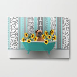 Turquoise Bathtub with Boxer dog and sunflowers Metal Print