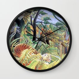 Tiger in a Tropical Storm (Surprised!) by Henri Rousseau 1891 // Jungle Rain Stormy Weather Scene Wall Clock