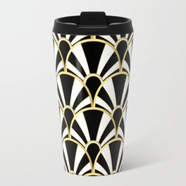 Black, White and Gold Classic Art Deco Fan Pattern Travel Mug