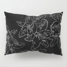 black and white line art flowers Pillow Sham