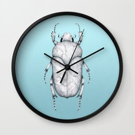 White Marble Beetle on Blue Background Wall Clock