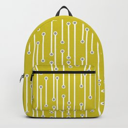 Dotted Lines in white and gray on mustard yellow Backpack