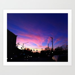 Pink Sky on Main Art Print