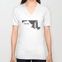 maryland V-neck T-shirts featuring Home: Maryland by LEIGH ANNE BRADER