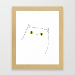 White Cat Face Framed Art Print