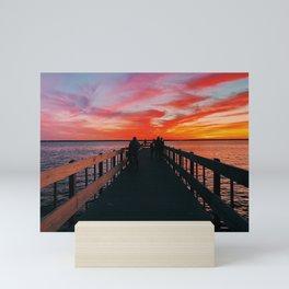 sunset at seaside park pier  Mini Art Print