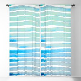 New Year Blue Water Lines Blackout Curtain