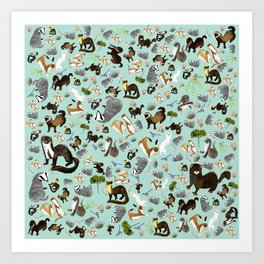 Mustelids from Spain pattern Art Print