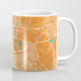 Eindhoven, Netherlands, Gold, Blue, City, Map Coffee Mug