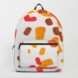Minimalist Abstract Mid Century Modern Colorful Organic Patterns Red Orange Brown Backpack
