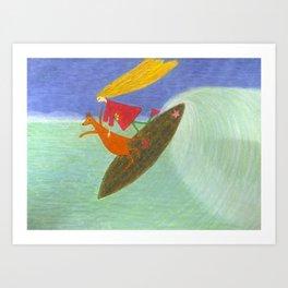Ozzi and Lulu, Surfing Art Print