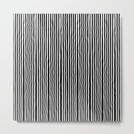 Op-Art Black and White Tribal Stripe Pattern Metal Print