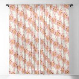 Milk & Cookies Pattern - Pink Sheer Curtain