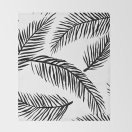 Black & White Palm Leaves Throw Blanket