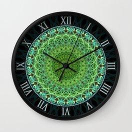 Mandala with light and dark green ornaments Wall Clock
