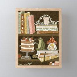 cottage bookshelf Framed Mini Art Print
