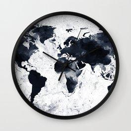 Black Ink World Map Wall Clock