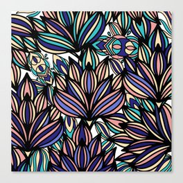 Modern hand painted black coral teal watercolor floral Canvas Print