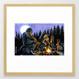 Cryptid Bonfire Framed Art Print